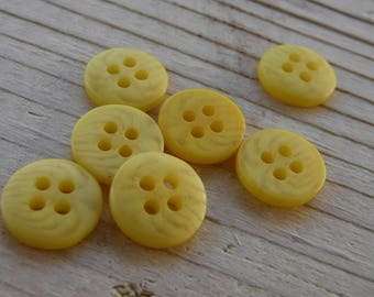 """16 Yellow Striped Round Buttons Size 3/8"""""""