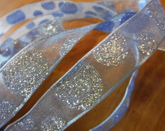 Light BLue with Glitter Dots Wire Edge Ribbon 3 Yards
