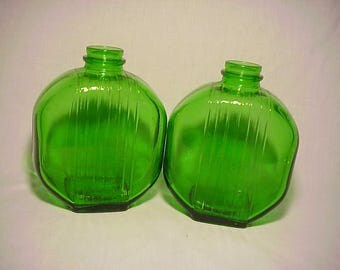 Set of Two c1930's Emerald Green Glass Ribbed Prune Juice bottles Great Wedding Decor No. 1