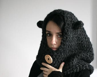 Hooded Bear Scarf,Hooded Cowl,Chunky Cowl,Winter Accessory//Charcoal//The Jackson Hood with Ears