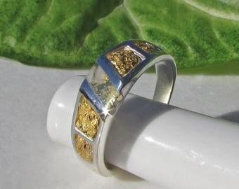 Gold Nugget Ring, Gold Veined Quartz, Mens Gold Nugget Ring, Gold Nugget Jewelry, Gold in Quartz Ring, California Gold Nugget Jewelry