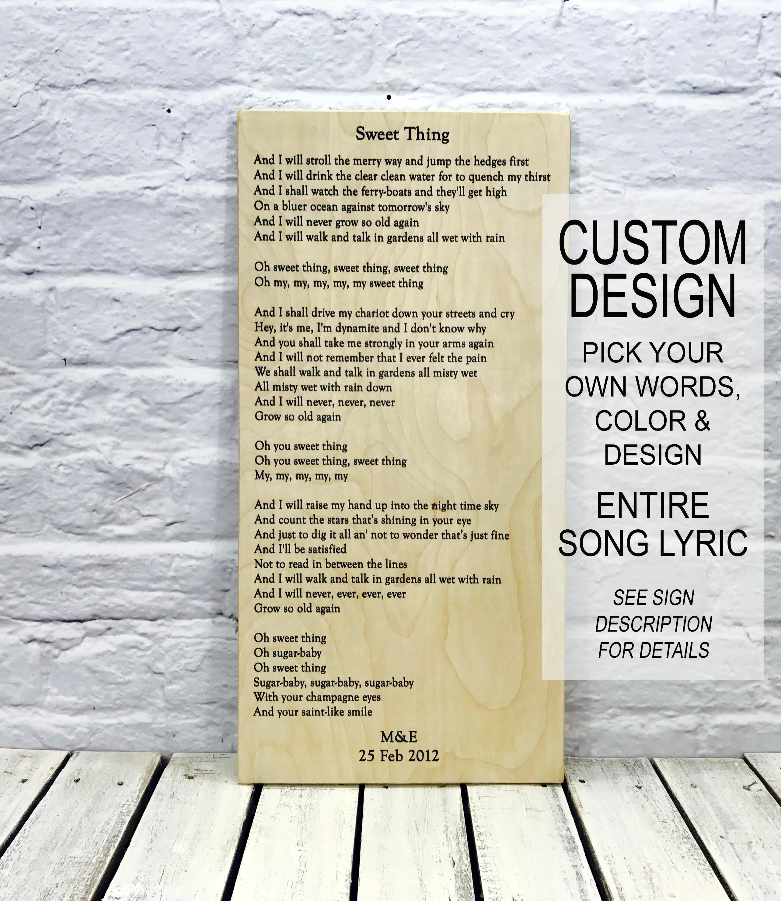 song lyrics, song lyric art, wedding gift, anniversary gift, wedding ...