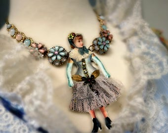 Victorian Doll Art Necklace . Wearable Art . Victorian Lady Art Necklace . OOAK Statement Necklace . Victorian Doll Art Jewelry