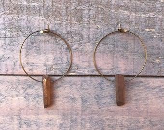 Bronze Quartz Hoops