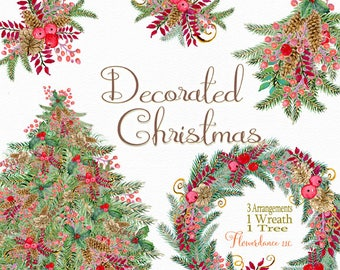 Christmas clipart, holiday clipart, watercolor clipart, pine bough swag,Christmas Tree,Christmas Wreath,watercolor clipart,evergreen clipart