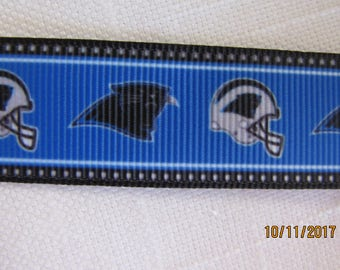 "Carolina Panthers 7/8"" Grosgrain Ribbon by the Yard"
