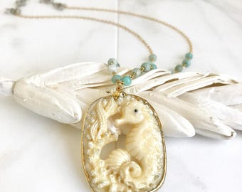 OOAK Sea Horse Long Necklace with Amazonite Beaded Chain. Long Unique Boho Necklace in Cream and Aqua. One of a Mind Jewelry.