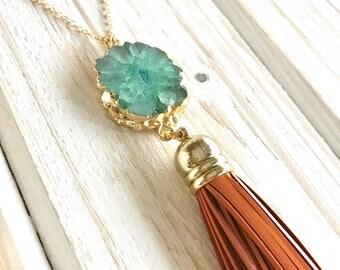 Tassel Necklace. Leather Tassel Necklace. Turquoise Stone and Orange Tassel Necklace. Long Tassel Necklace. Boho Tassel Jewelry.