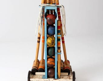 vintage croquet set with metal cart, lawn game set
