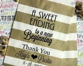 "GLAMSALE GLAM SALE - 250 Personalized Wedding Candy Bags, ""A Sweet Ending to a New Beginning"", Custom Printed Party Favor Bags with Names an"