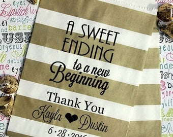 """GLAMSALE - 250 Personalized Wedding Candy Bags, """"A Sweet Ending to a New Beginning"""", Custom Printed Party Favor Bags with Names an"""