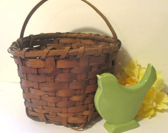 Vintage Handmade Split Oak Gathering Basket Farmhouse Primitive Alabama