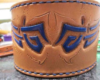 Custom tooled cuffs, leather bracelets, Celtic design tooling, handmade Celtic cuffs, wide cuff, leather cuff