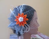 RESERVED for MARRIAH CAREY-- Burnt Orange Bridal Hair Flower with Silver Peacock Feathers