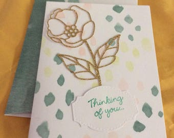 Thinking of you greetings card handmade greeting card yellow, gold, pink and green card with gold sparkles rose and leave overlay with match