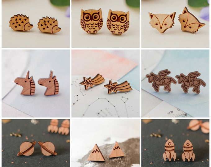 Featured listing image: 2 Pairs of Wooden Studs for 16, Special Offer, Earring Offer, Stud Earrings, Wooden Earrings, Earring Multi-buy, Stocking Filler Studs