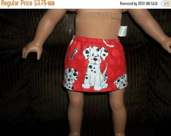 American 18 Inch doll clothes skirt red with dogs on it