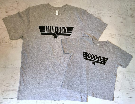 Maverick with Wings and star t-shirt Heather Grey printed in Black
