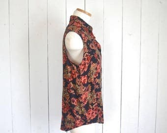 15% OFF - 7 Day Sale Floral Sleeveless Blouse - Early 90s Black Red Top - Vintage Womens Button Up - Medium M