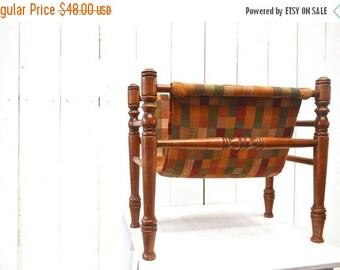 34% Off Sale - Vintage Magazine Rack Wooden Fabric Patchwork Record Holder 1960s Mid Century Storage Decor