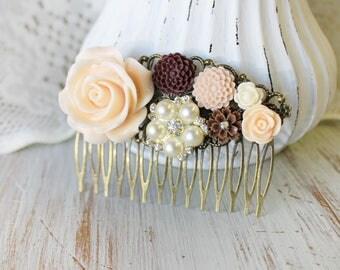 Pink Wedding Hair Piece - Wedding Hair Comb - Pearl Bridal Hair Comb - Fall Wedding Hair Accessories - Flower Hair Comb - Floral Hair Comb