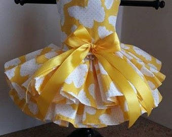 Dog Dress  Yellow with Butterflies