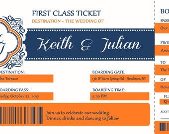 Boarding Pass Wedding Invitations, Travel Wedding Invitation, Plane Ticket, Custom Listing for disracer