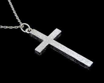 18k White Gold Classic Cross Pendant or Necklace (Optional Chain)