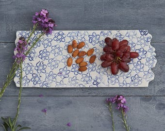 Handmade Blue and White Ceramic (Porcelain) Platter, Tray, Decorative Wall Piece