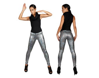 Silver Leggings, Futuristic Clothing, Burning Man, Holographic Leggings, Dance Costume, Aerial Silks, Stage Wear, Music Video, by LENA QUIST