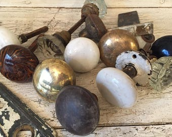 Vintage Glass, Metal and Porcelain/Ceramic Door Knobs and Hardware
