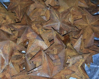 "Lot of 100 Rusty 2.25"" (2-1/4"") Country Stars, 3D, Rusted, Hole for Hanging, Metal Craft Supply, Crafting Barn Stars"