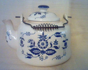 Vintage Armbee blue and white blue onion ceramic teapot with lid and metal handle