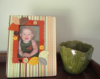 4x6 Fall Themed - Hand Decorated Picture Frame