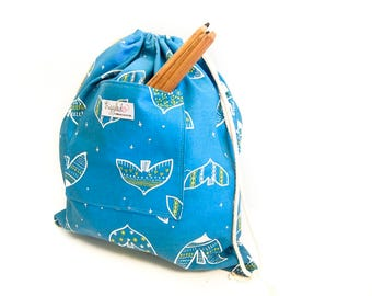 Large Drawstring Bag / Library Bag with a Pocket - Turquoise Birds