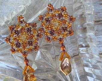 Handmade Artisan Beadwork Earrings - Dreamcatcher - Seedbeads - Falling Leaves