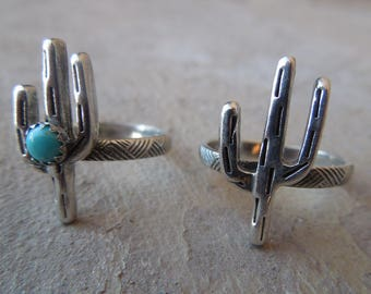 Little Cactus Sterling Silver Turquoise Ring Handmade Saguaro Cactus Arizona New Mexico Southwest Ring