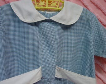 Vintage Toddler Romper Adorable Blue Check with White Trim Little Boy