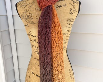 Hand Knit Scarf, Hand Knit, Lace Scarf, Gradient Color, Knit Scarf, Handmade Gifts, Gifts for her