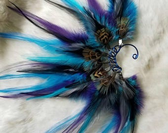 Blue Feather Ear Cuff - Right Ear