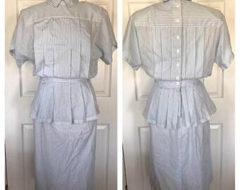 80s does 40s Striped Pleated Peplum Dress