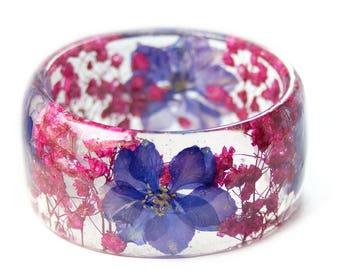 Real Flower Jewelry- Resin Flower Jewelry- Purple Bracelet- Purple Flower Jewelry- Resin Jewelry- Flower Bangle- Flower Resin Bracelet