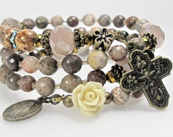 New Agate Mix Mauve Semi-precious Rosary Wrap Bracelet Catholic Jewelry Bridesmaid Gift Mother's Gift Confirmation Unique One-Of-A-Kind,#604