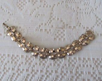 Vintage Monet Bracelet, Gold Link, Classic Elegance