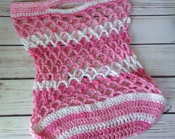 Pink Reusable Market Bag, Reusable Grocery Bag, Cotton Market Bag, Produce Bag, Crochet Bag, Beach Bag, Summer Tote