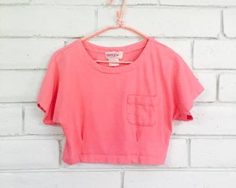 80's BUBBLEGUM CROP TOP vintage fitted cropped tshirt S