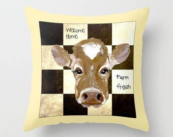 Outdoor Pillow Cover with Pillow Insert, Outdoor Pillow Cover, Cow Farm fresh, Welcome Home check pillow