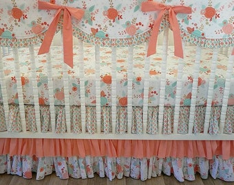 Girl Crib Bedding- Baby Bedding- Ready To Ship- Peach Coral and Gold-