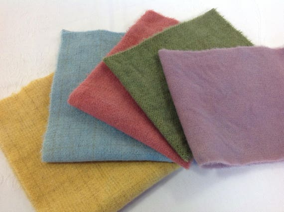 5) fat sixteenths, Spring Medley, Hand Dyed Rug Hooking Wool, Applique Wool Fabric, W427,  red, yellow, blue, green, purple