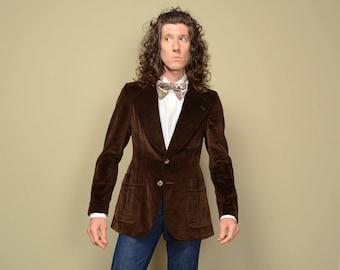vintage 70s brown velvet sport coat 1970 menswear brown velvet sport jacket disco pimp blazer 38 38R
